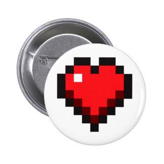 """Videojugador vida del amor"""" del corazón del pixel pin redondo 5 cm"""
