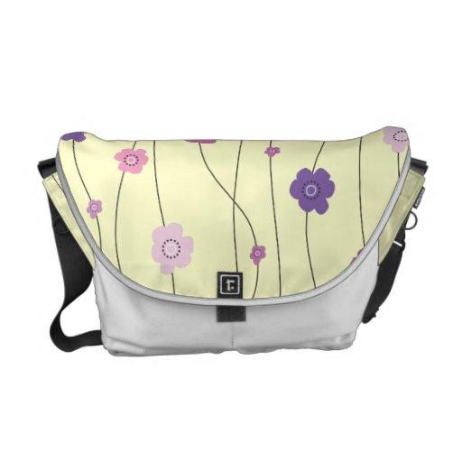 Vides banales coloridas de la flor púrpuras bolsa de mensajeria