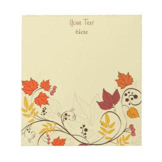 Vides de la hoja del otoño con el texto adaptable blocs de notas