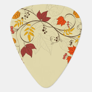 Vides de la hoja del otoño con el texto adaptable uñeta de guitarra