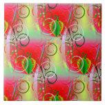 Vides florales de la primavera amarilla verde roja azulejos ceramicos