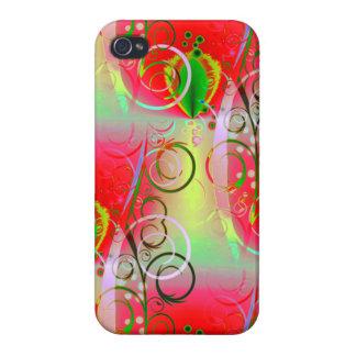 Vides florales de la primavera amarilla verde roja iPhone 4 protectores