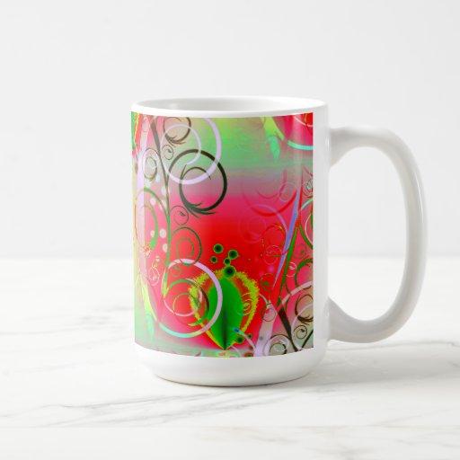 Vides florales de la primavera amarilla verde roja taza de café
