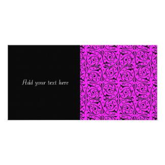Vides que remolinan en rosa impactante tarjeta personal con foto