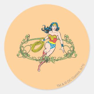 Vides verdes de la Mujer Maravilla Pegatina Redonda