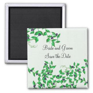 Vides verdes elegantes con las bayas de la marina  imán cuadrado