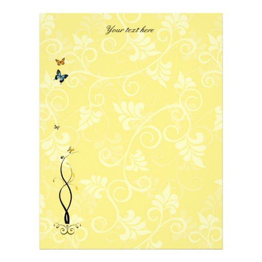 Vides y mariposas amarillas de papel de Scrapbooki Plantillas De Membrete