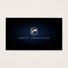 Vidographer Elegant Video Camera Icon Blue Glow Business Card at Zazzle