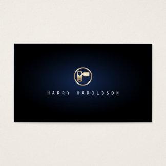 Vidographer Elegant Video Camera Icon Blue Glow Business Card