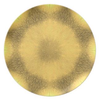 Vidrio amarillo plato de cena