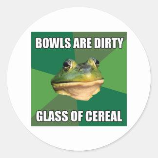 Vidrio asqueroso de la rana del soltero de cereal pegatina redonda