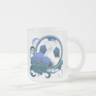 Vidrio azul de la taza de la flor tropical del