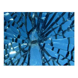 Vidrio azul quebrado tarjeta postal