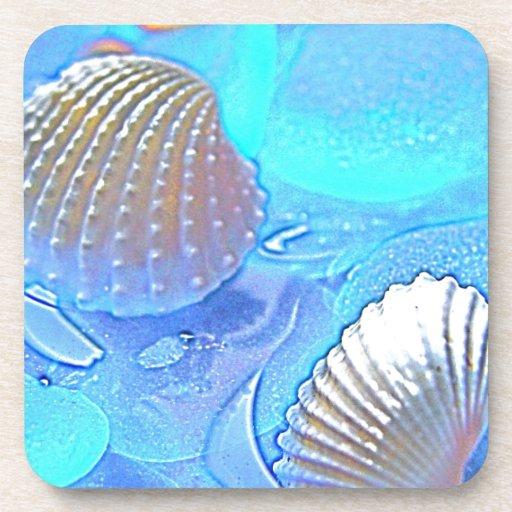 Vidrio colorido del mar posavasos de bebidas
