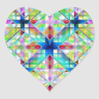 Vidrio colorido calcomanía corazón