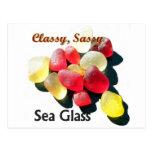 Vidrio con clase descarado del mar - rojo y amaril postal