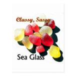 Vidrio con clase descarado del mar - rojo y amaril tarjeta postal