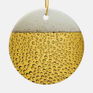 Vidrio de cerveza adorno navideño redondo de cerámica