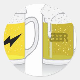 Vidrio de cerveza ligera pegatina redonda