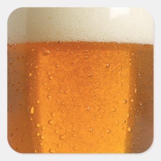 Vidrio de cerveza pegatina cuadrada