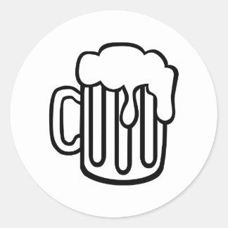 Vidrio de cerveza pegatina redonda