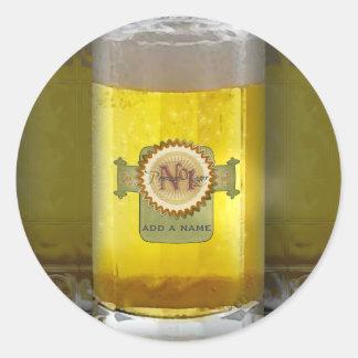 Vidrio de cerveza personalizado divertido pegatina redonda