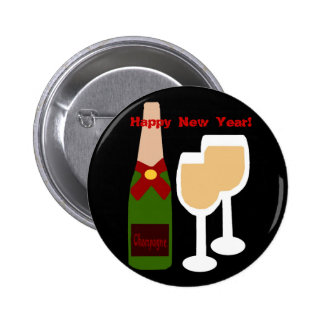 ¡Vidrio de Champán n, Feliz Año Nuevo! botón Pin Redondo De 2 Pulgadas