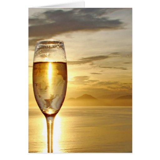 vidrio de champán tarjeta de felicitación