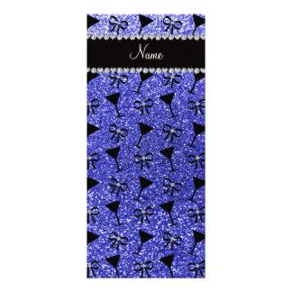 Vidrio de cóctel azul de neón conocido plantilla de lona