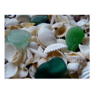 Vidrio de color verde oscuro del mar tarjetas postales