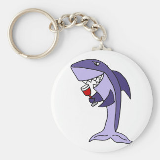 Vidrio de consumición divertido del tiburón azul llavero redondo tipo pin
