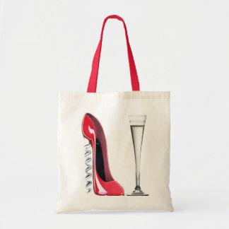 Vidrio de flauta de champán y zapato del estilete  bolsas lienzo