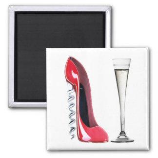 Vidrio de flauta de champán y zapato del estilete  imán cuadrado