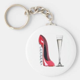 Vidrio de flauta de champán y zapato del estilete  llavero redondo tipo pin