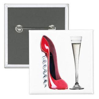 Vidrio de flauta de champán y zapato del estilete  pin cuadrado