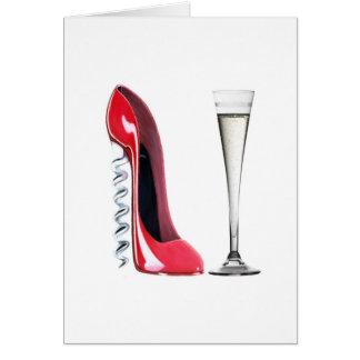 Vidrio de flauta de champán y zapato del estilete tarjeta de felicitación
