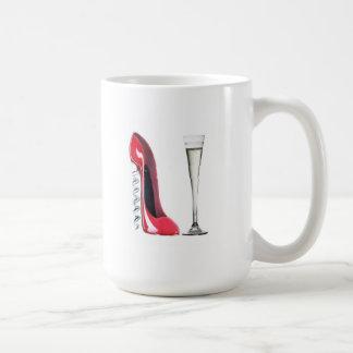 Vidrio de flauta de champán y zapato del estilete  tazas