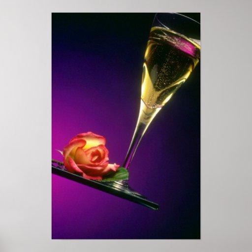 Vidrio de flores del champán y de la flor impresiones