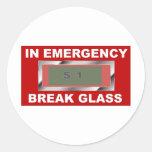Vidrio de la emergencia etiquetas redondas