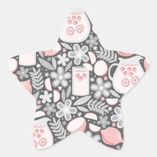Vidrio de la tarde de limonada rosada pegatina en forma de estrella