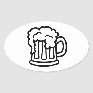 Vidrio de la taza de cerveza pegatina ovalada