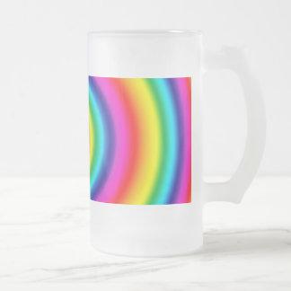 Vidrio de modelo redondo psicodélico del arco iris jarra de cerveza esmerilada