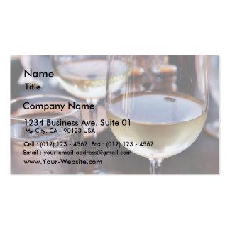 Vidrio de vino blanco tarjetas de visita