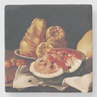 Vidrio de vino, de sandía y de pan posavasos de piedra
