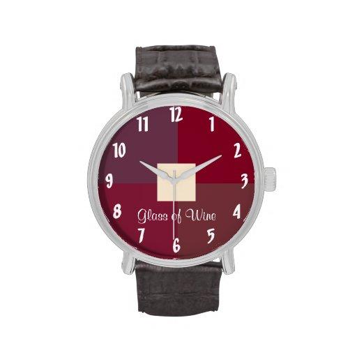 Vidrio de vino reloj de mano
