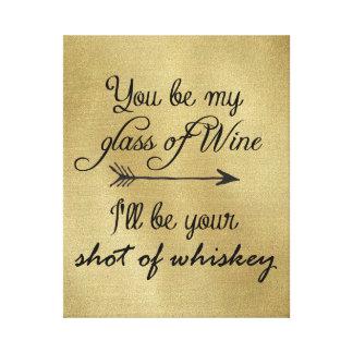 Vidrio de vino tirado del whisky impresión en lona