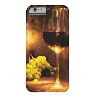 Vidrio de vino y de uvas verdes en luz de una vela funda de iPhone 6 barely there