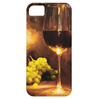 Vidrio de vino y de uvas verdes en luz de una vela iPhone 5 funda