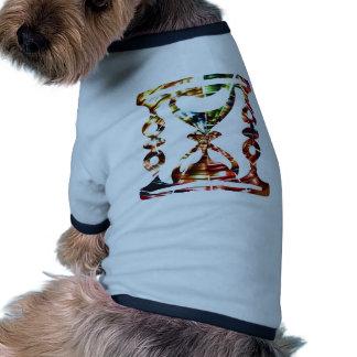 Vidrio decorativo de la hora - diseño rojo chispea camiseta con mangas para perro