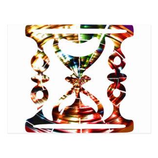 Vidrio decorativo de la hora - diseño rojo tarjeta postal